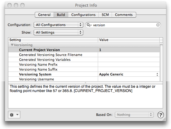 Project Versioning Settings