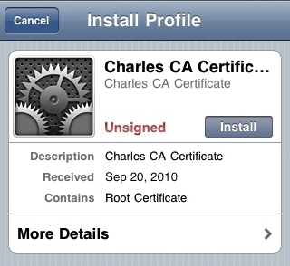 iPhone Install CharlesCA Certificate
