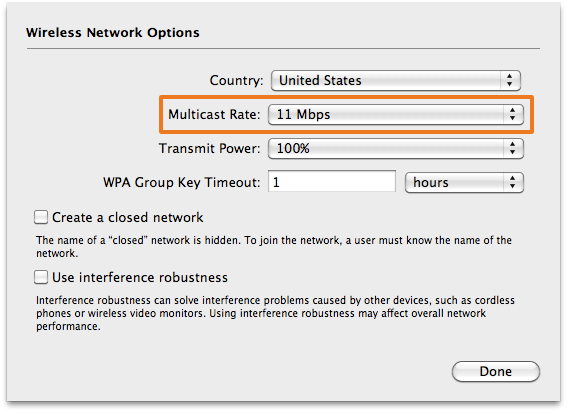 AirPort Extreme Wireless Network Options